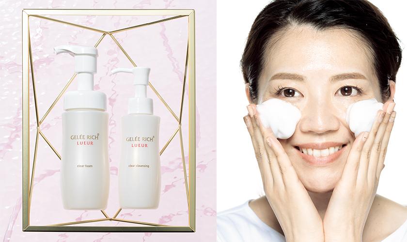 摩擦レス洗顔ができるクレンジングと洗顔料でくすみレスなツヤ肌!